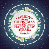 Les vacances encadrent avec des maisons et des arbres d'hiver Illustration de vecteur de lettrage de Joyeux Noël et de bonne anné Images stock
