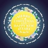 Les vacances encadrent avec des maisons et des arbres d'hiver Illustration de vecteur de lettrage de Joyeux Noël et de bonne anné Photo libre de droits