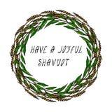 Les vacances juives ont une carte joyeuse de Shavuot Épillets de blé de guirlande, feuille de Green Bay Texte écrit de main Guirl Photographie stock