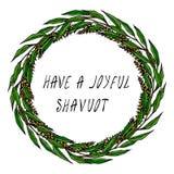 Les vacances juives ont une carte joyeuse de Shavuot Épillets de blé de guirlande, feuille de Green Bay Texte écrit de main Guirl Photographie stock libre de droits