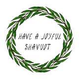 Les vacances juives ont une carte joyeuse de Shavuot Feuille de Green Bay de guirlande Texte écrit de main Guirlande ronde de mal Photographie stock libre de droits