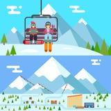 Les vacances skieur et surfeur de station de sports d'hiver montent Photo libre de droits