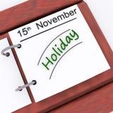 Les vacances sur le planificateur montrent la date de vacances réservée Photographie stock libre de droits