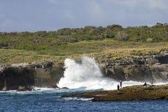 Les vagues énormes ont frappé le parc national de Booderee d'île de Bowen NSW austral Photographie stock libre de droits