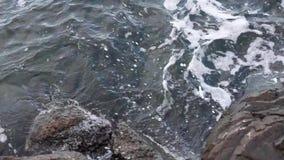 Les vagues battent des pierres clips vidéos