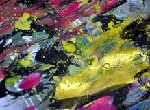 Les vagues circulaires d'or noir éclabousse, des couleurs cireuses vives colorées, fond créatif de contrastes images stock