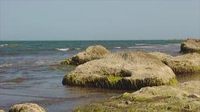 Les vagues en mer ont battu contre les roches banque de vidéos