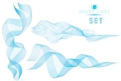 Les vagues massives de mélange bleu réglé arrosent le fond abstrait pour le desig Photographie stock