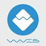 Les vagues ont décentralisé le logo de vecteur de plate-forme de criptocurrency de blockchain Photographie stock