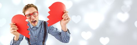 Les valentines équipent briser le coeur avec le fond de coeurs d'amour Image libre de droits