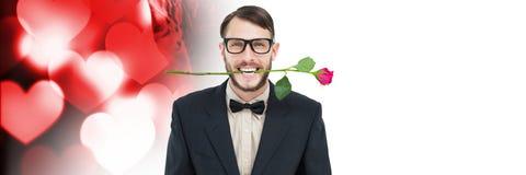 Les valentines équipent mordre se sont levées avec le fond de coeurs d'amour Photo stock