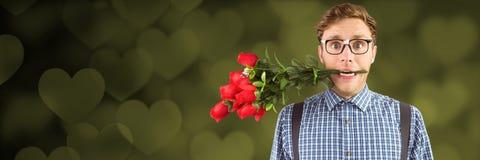 Les valentines équipent mordre se sont levées avec le fond de coeurs d'amour Photographie stock libre de droits