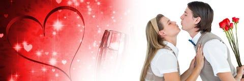 Les valentines couplent tenir des roses avec le fond de coeur d'amour Image stock