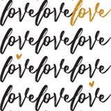 Les valentines modèlent avec le texte manuscrit Amour tiré par la main manuscrit des textes Fond sans couture avec amour des text Image stock