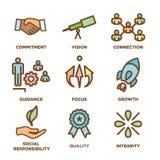 Les valeurs de noyau décrivent/lignes icône donnant l'intégrité - but illustration stock
