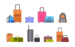 Les valises, les sacs et les sacs à dos réglés des icônes ont isolé la collection différente de bagages illustration de vecteur