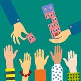 Les ventes d'agent ou louent un appartement dans un bâtiment à plusiers étages Illustration Stock