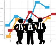 Les ventes d'hommes d'affaires Team le diagramme de graphique d'accroissement de bénéfice Image libre de droits