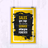 Les ventes de citation vont en haut et en bas, entretiennent l'affiche d'affaires de séjours pour toujours - pour votre mur Faux  Photo stock