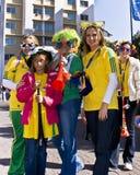 Les ventilateurs de football célèbrent dans Sandton CBD Image stock