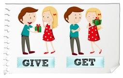 Les verbes d'action donnent et obtiennent Photos stock