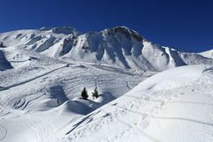 Les Verdons, Winter landscape in the ski resort of La Plagne, France Stock Photos