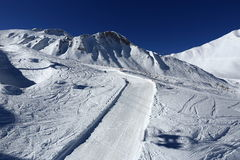 Les Verdons, Winter landscape in the ski resort of La Plagne, France Royalty Free Stock Photo