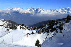 Les Verdons, Winter landscape in the ski resort of La Plagne, France Stock Photography