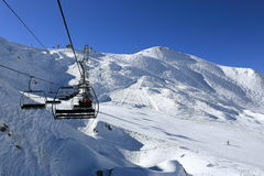Les Verdons, Winter landscape in the ski resort of La Plagne, France stock image