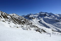 Les Verdons, Winter landscape in the ski resort of La Plagne, France Royalty Free Stock Images