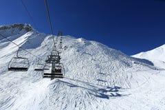 Les Verdons, Winterlandschaft im Skiort von La Plagne, Frankreich Lizenzfreie Stockfotografie