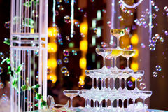 les verres de champagne pour célèbrent le mariage Photos libres de droits