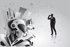Les verres de Digital de réalité virtuelle d'usage d'homme d'affaires de silhouette voient le robot moderne Images stock
