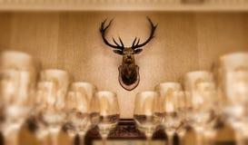 Les verres de vin vides avec un cerf commun dirigent le trophée sur le mur Images libres de droits