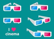 les verres du cinéma 3D d'isolement sur un fond coloré dirigent l'illustration illustration stock