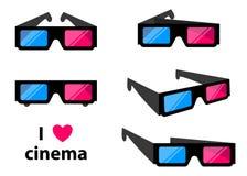 les verres du cinéma 3D d'isolement sur un fond coloré dirigent l'illustration illustration libre de droits