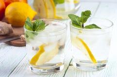 Les verres du detox boivent avec le citron et la menthe Images libres de droits