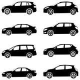 Les véhicules silhouettent le positionnement Images libres de droits