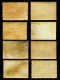 Les vieilles bannières de papier de vintage ont placé d'isolement sur le noir Image stock