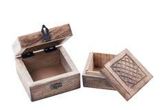 Les vieilles boîtes en bois, demi s'ouvrent Image libre de droits