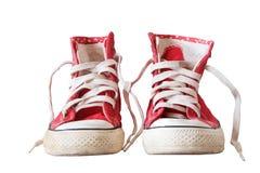 Les vieilles chaussures d'espadrille ont isolé le blanc Photos libres de droits