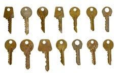 Les vieilles clés rouillées ont isolé l'ensemble Photo stock