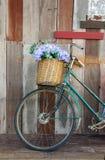 Les vieilles dames vont à vélo le penchement contre une planche en bois Photos stock