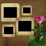 Les vieilles glissières pour la photo avec le rose ont monté illustration de vecteur
