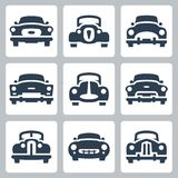 Les vieilles icônes de voitures de vecteur ont placé, vue de face illustration de vecteur