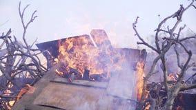 Les vieilles portes en bois brûlent dans le feu avec les branches sèches banque de vidéos