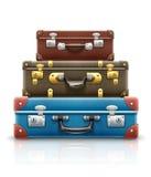 Les vieilles rétros valises de vintage met en sac la pile pour le voyage Illustration du vecteur EPS10 Sur le fond blanc Photo libre de droits