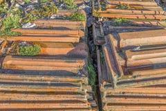 Les vieilles tuiles de toiture empilées avec de la mousse plus de se développe effréné photos libres de droits