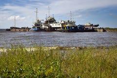 Les vieux bateaux en Mer du Nord Image stock