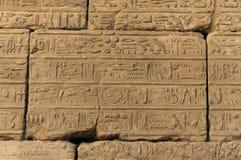 Les vieux hiéroglyphes de l'Egypte ont découpé sur la pierre photographie stock